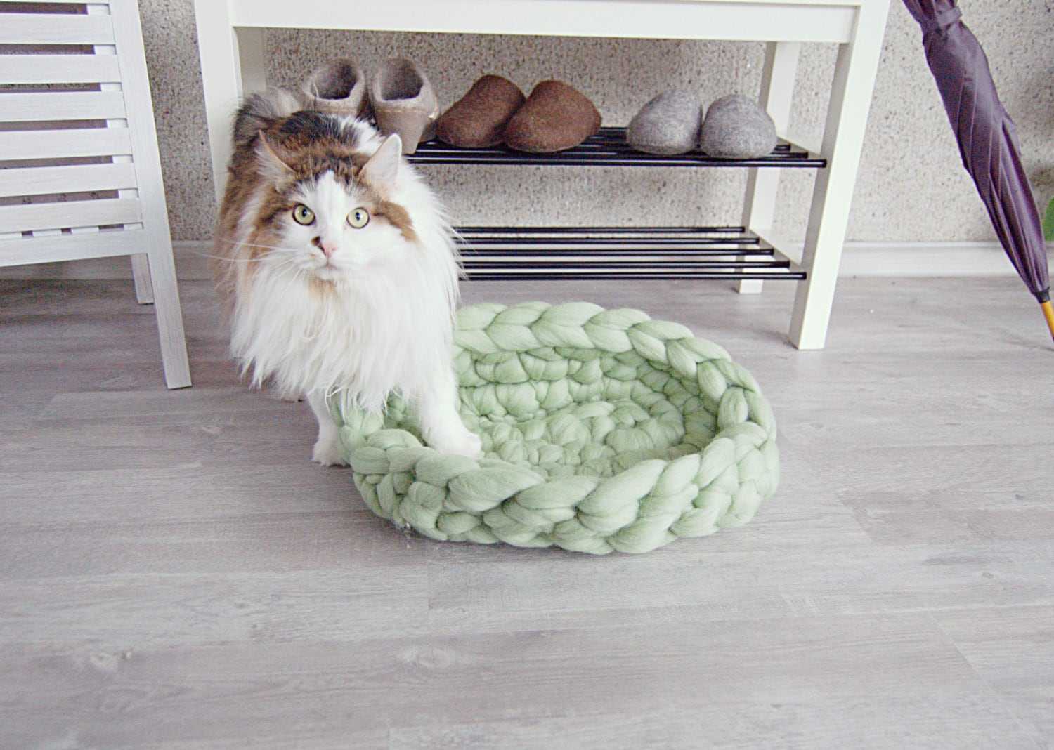 small dog furniture. Chunky Wool Cat Bed Mint - Dog Pet Furniture Basket Merino Arm Knit Small