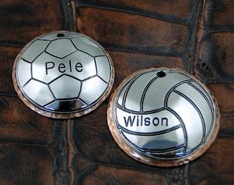 Soccer or Volleyball Dog ID Tag-Custom Pet ID Tag-Handmade Dog Collar ID Tag-Personalized Pet Tag Soccer or Volleyball