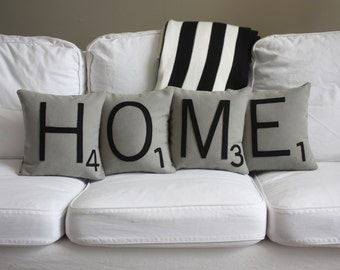 HOME Scrabble Pillows - CASES ONLY // Scrabble Tile Pillows // Letter Cushion Covers // Scrabble Words // Home Decor // Decorative Pillows