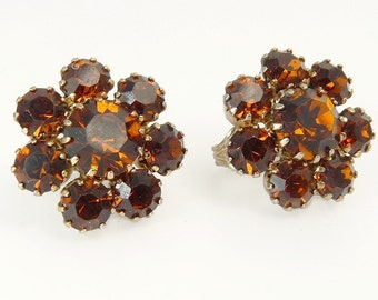 Vintage Austrian Crystal Topaz Rhinestone Earrings