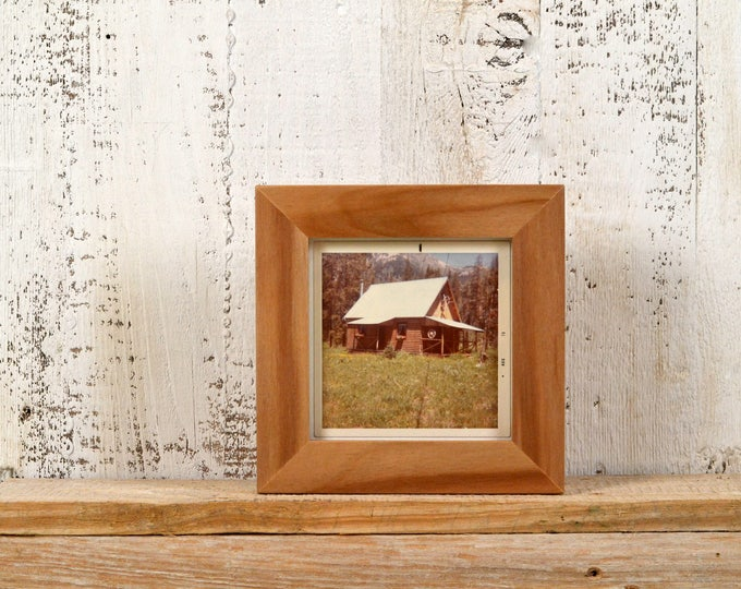 4x4 Square Photo Picture Frame in 1x1 Flat Style on WILLOW with Natural Finish - IN STOCK -  Same Day Shipping - 4 x 4 inch Picture Frame