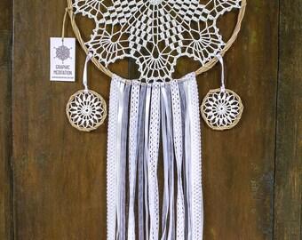 "White doily dream catcher 11"" - Crochet Boho Wedding decor with Beautiful Handmade Lace - Hippie multi tiered dreamcatcher"