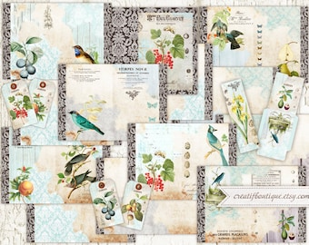 Fruits&Birds Scandinavian Printable Journal Kit. Instant Download.