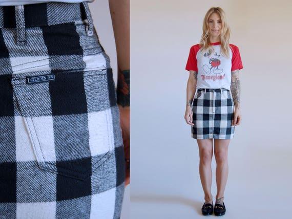 Vintage Guess Skirt Buffalo Check Plaid Mini Pencil by Etsy
