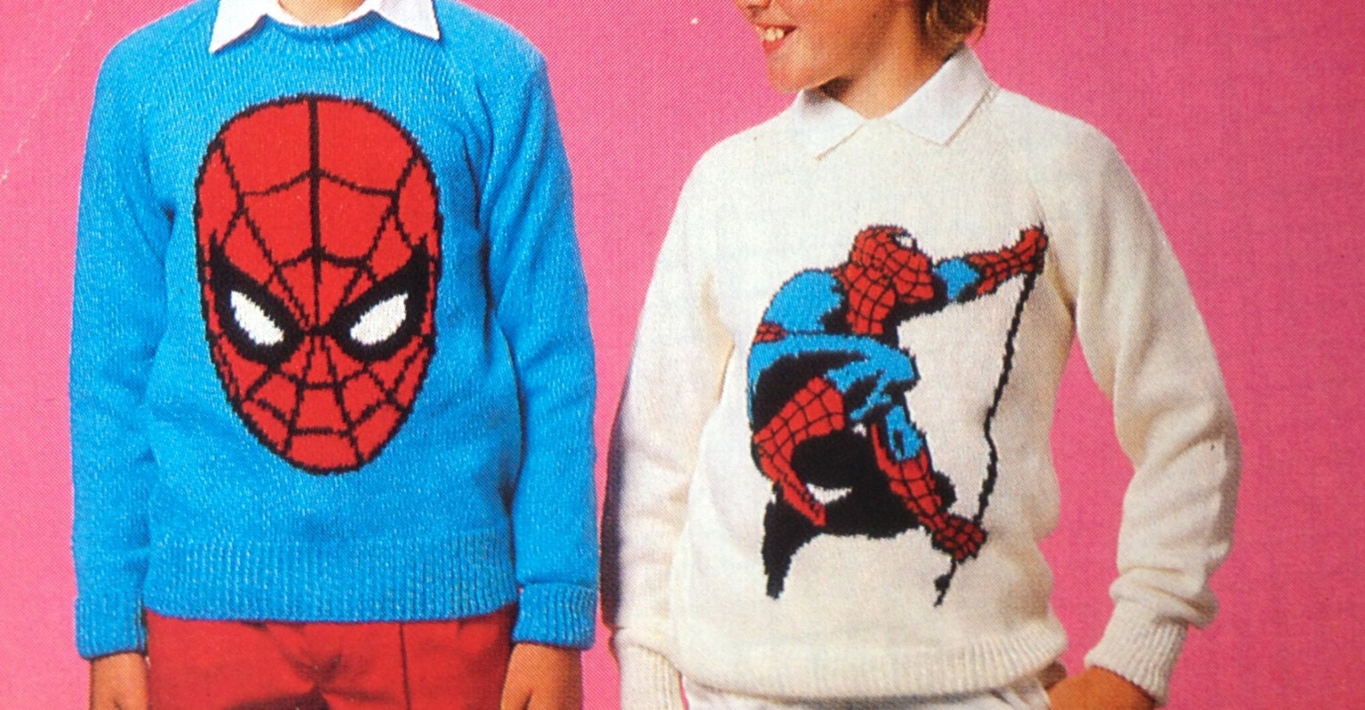 Spiderman knitting pattern sweaters for children and adults dk or 4 ...