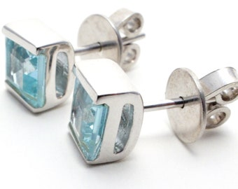 Blue Topaz Gemstone Stud Earrings, Set in Sterling Silver, December Birthstone, Gift Boxed