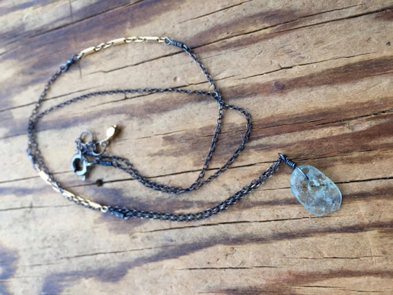 Aquamarine Mixed Metal Necklace Silver and Gold Minimalist Hand Wire Wrapped March Birthstone Vishuddha chakra Throat Chakra Purification