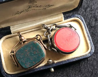 Two antique gold and silver blood stone swivel watch fobs hallmarked 1914-1915
