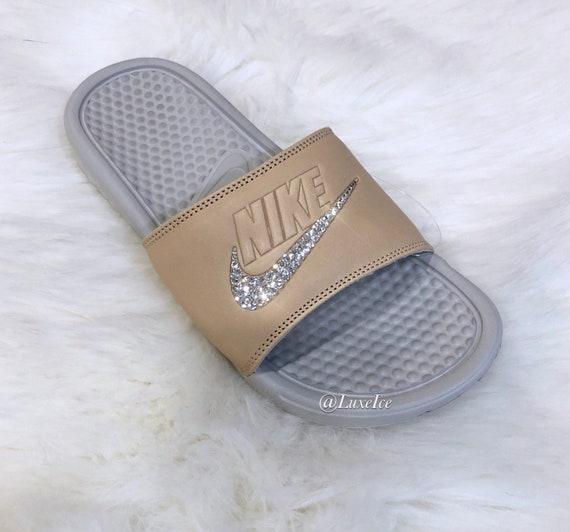 JDI Crystals Flip Nike Benassi Flops with customized Slides Swarovski awnP5f