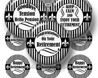 Retirement, Bottle Cap Images, Digital Collage Sheet, Instant Download, 1 Inch Circles, Printable, Black and White Stripes, Cupcake Toppers
