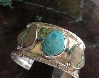 Castle Dome/Sleeping Beauty Turquoise/Royston Ribbon Turquoise/Sterling Silver Cuff