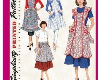 APRON SEWING PATTERN / Make Full  And Half Style Aprons / Misses / Vintage Style