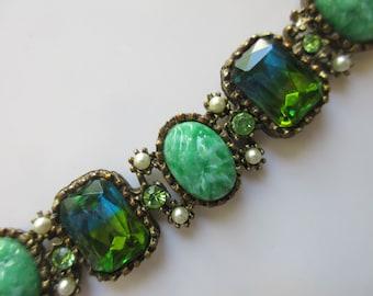 Vintage Molded Peking Glass Green Yellow Striped Rhinestone Faux Pearl Link Bracelet