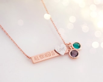Birthstone Necklace, Bridesmaid Gift, Mother's Day Gift, Bar Necklace, Custom Jewelry
