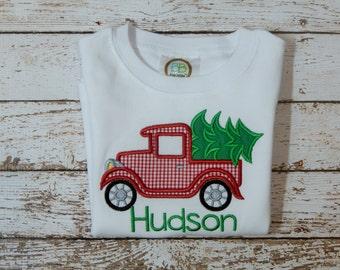 BOY'S CHRISTMAS SHIRT, Boy's shirt with Christmas tree; Boy's personalized Christmas shirt; Boy's Christmas; ships 3-5 days
