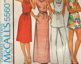 McCall's 5560 Pullover Dress with Cowl Collar, Top, Pants, Shorts 1970s Size 10-12
