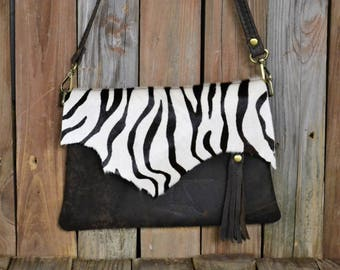Hand Made Leather / Animal Print Cross body Clutch  CL-43