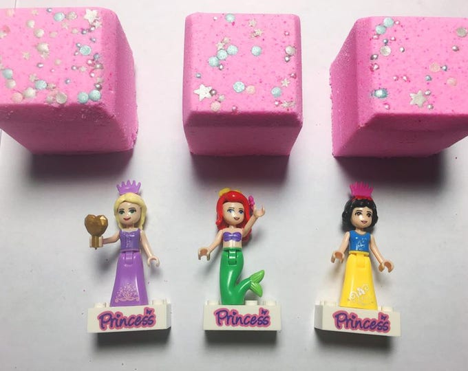 5 4 oz Disney Lego Princess Inspired Little Dips Bath Bomb Cubes with toy inside and Shopkin Inspired Five Packs Party Favor or Special Gift