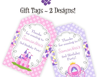 Princess Gift Tags - Pink Purple Polka Dots, Princess Castle and Carriage Personalized Birthday Party Gift Tags - A Digital Printable File