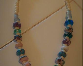 Lampwork choker with fused pendant