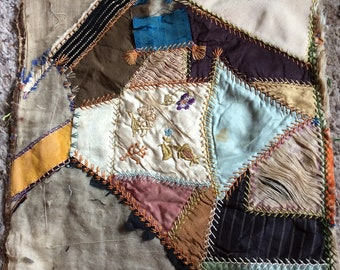 ANTIQUE QUILT BLOCK, vintage embroidery, collectible crazy quilt piece, late 1800s