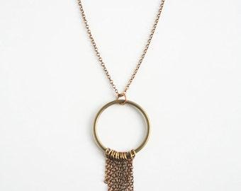 Brass Fringe Necklace, Bohemian Necklace, Boho Necklace, Brass Jewelry