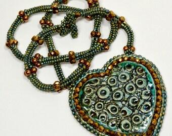 Teal and Antique Gold Necklace Beadwoven Ceramic Raku Heart