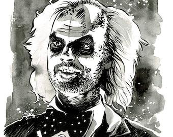 BEETLEJUICE - Tim Burton Michael Keaton original ink drawing portrait