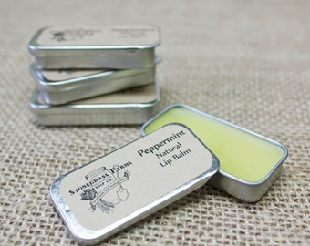 Peppermint Lip Balm - Beeswax Lip Balm - Mint Lip Balm - All Natural Lip Balm - Organic Lip Balm - Homemade Lip Balm - Lip Balm Tin