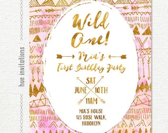 wild one 1st birthday invitation for baby girl, arrows tribal birthday party invitation blush pink coral gold glitter, printable digital