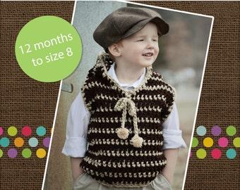 Hudson's hooded vest Crochet PDF Pattern sizes 12/24 months to size 6/7/8 boys