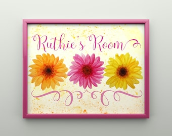 Customizable Colorful Watercolor Floral Room Decor