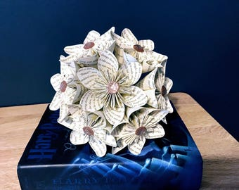 Book Page Kusudama Flower Bridal Bouquet