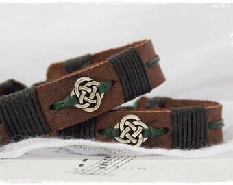 Men's Leather Bracelet, Leather Celtic Bracelet, Irish Norse Bracelet, Gaelic Leather Bracelet, Nordic Viking Bracelet, Leather Jewelry