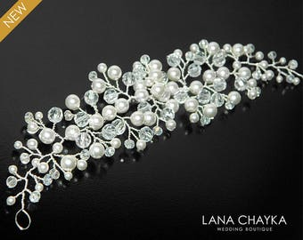 Pearl Crystal Bridal Hair Vine, Swarovski White Pearl Crystal Hair Piece, Bridal Floral Hair Jewelry, Bridal Headpiece, Pearl Crystal Wreath