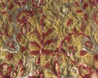 Luxury Yellow and Pink Sequined and Beaded Chantilly Lace Fabric -- 3.2 yards