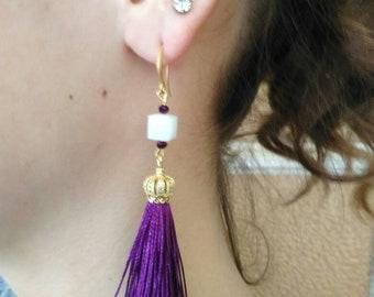 Purple earrings, women earrings, tassel earrings, gift for women, handmade earrings, Swarovski cristal earrings