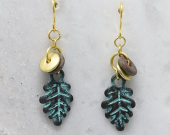 Greek Patina Leaf Charms Dangle earrings