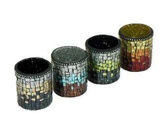 Candle Votive - Mosaic Candle Votive - Votive Holder - Tea Light Holder - Votive Cup - Candle Holder - Ombre Candle Votive - Glitter Glass