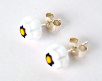 Murano Glass Millefiori Stud Earrings - Black & White Glass Flower on Sterling Silver Stud Post
