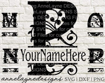BB Fancy Name Plate Letters M-P, svg, ai, dxf, eps, jpg, pdf, png, cut files, Instant Download, Split Monogram