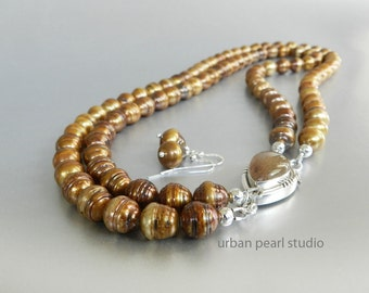 Caramel Gold Pearl Necklace, Multi Strand Pearl Necklace, Baroque Pearls, Gemstone Box Clasp, Bronze Cultured Brown Pearls