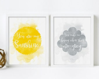 Framed Print Set, You Are My Sunshine Wall Art, Yellow and Grey Nursery Decor, Christmas Gift for Kids, Art for Kids Room, Nursery Wall Art
