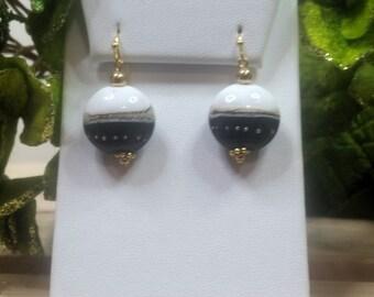 Artisan Lampwork Black & White Earrings