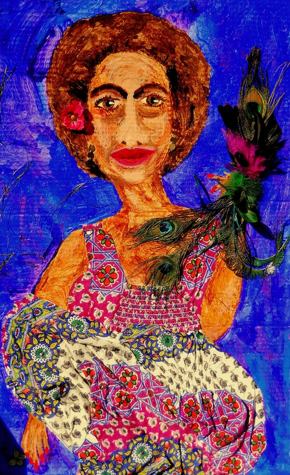 "CATHY, Mix Media Painting on 36 x 24"" primed cardboard, African American Art, by Outsider Folk Artist Stacey Torres, portrait"