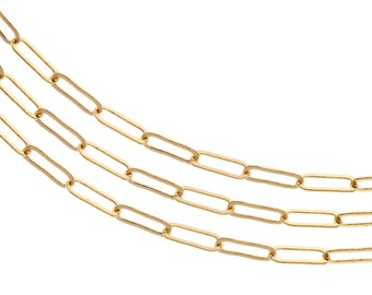 Chain, Flat Elongated Cable Chain, 14Kt Gold Filled, 5.2x2mm - 20ft Bulk Quantity Wholesale  Price (2308-20)/1