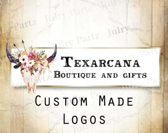 LOGO in TEXARCANA Bull Skull•Premade Logo•Jewelry Card Logo•Flower Logo•Custom Logo•Shop Logo