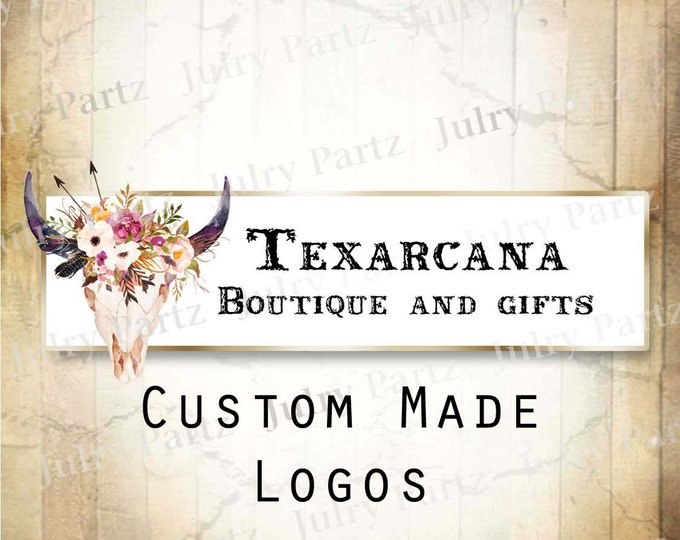 LOGO in TEXARCANA Bull Skull•Premade Logo•Jewelry Card Logo•Flower Logo•Custom Logo•Shop Logo