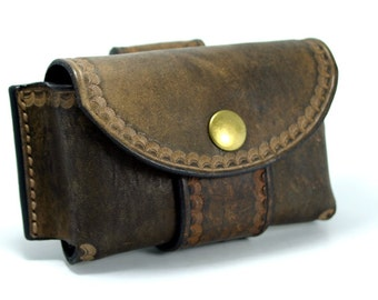 Brown Leather Bushcraft Pouch / Altoids Tin Pouch / Belt Pouch For Firestarting & First Aid Kits! / Handcrafted By PegCity Leather