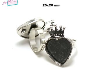 "2 support cabochons ring 20 x 20 mm Silver ""Crown 001"" heart"